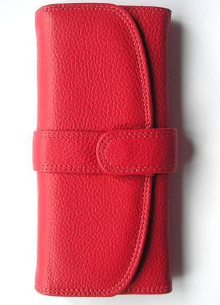 Кожаный классический малиновый кошелек, 100% натуральная кожа, есть доставка бесплатно