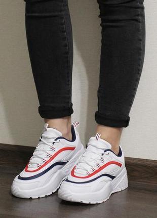 Распродажа! модные женские белые кроссовки на толстой подошве