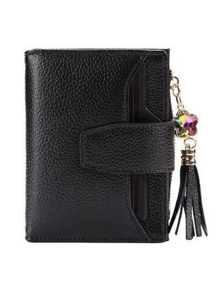Компактный черный кожаный кошелек на кнопке