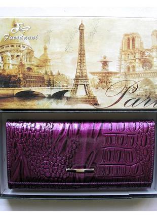 Большой кожаный лаковый кошелек fuerdanni, 100% натуральная кожа, есть доставка бесплатно