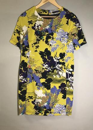 Яркое платье жёлтое с цветами s-m