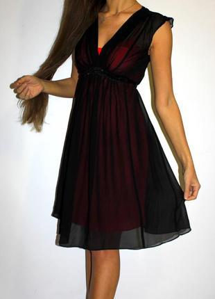 Черное вечернее платье миди  (бисер под грудью+пояс)