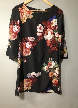 Платье трапеция с цветами s-m