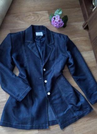 Синий кардиган пиджак 48 50 размер классический джинсовый sale