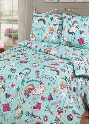 Детское постельное белье для девочки с единорогами, полуторный, в кроватку, на резинке