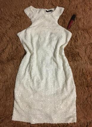 Платье белое пайетка