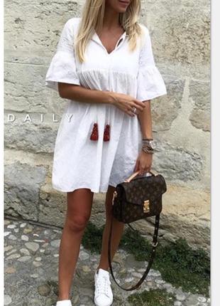 Белое хлопковое платье свободного кроя zara