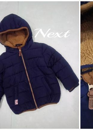 2-3г.|98см. зимняя куртка с манжетами next  в подарок зимний комбинезон h&m