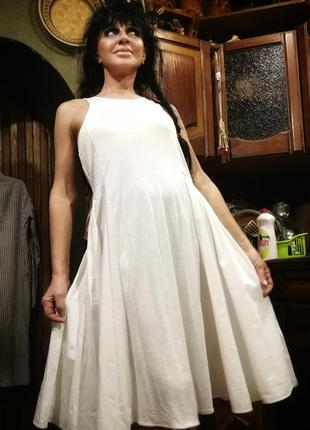Шикарное платье комбинация вискозы и коттона расклешенное