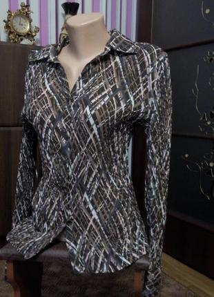 Блузка рубашка жатка 50 52 размер нарядная новая топ лук скидка распродажа