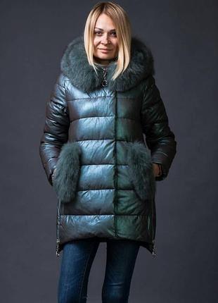Шикарный пуховик куртка из экокожи zlya zlly 18507 с натуральным мехом песца