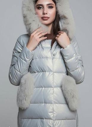 Шикарный пуховик куртка из экокожи zlya zlly 18507 с натуральным мехом песца цвета жемчуг