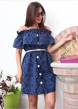 Летнее батистовое платье со спущенными плечами от zara