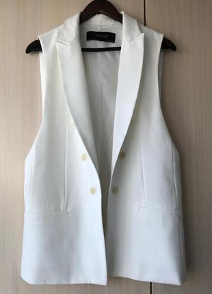 Удлиненный белый жилет-блейзер zara, l