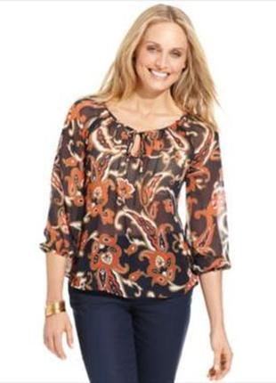 """Блуза из шифона в пейзанском стиле в принт """"пейсли"""", рукав 7/8, размер м"""