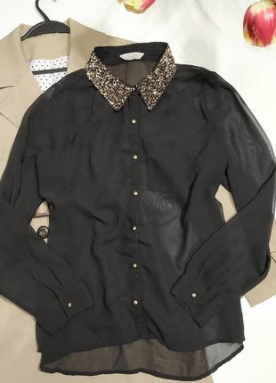❤черная шифоновая блуза с бисерным золотистым воротником