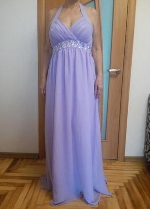 Шикарное шифоновое платье расшито камнями. размер 24. amelia