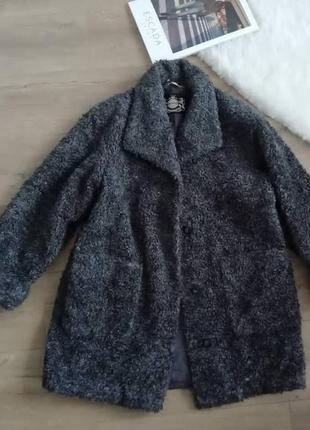 Plus size coat трендовое мохнатое пальто демисезон