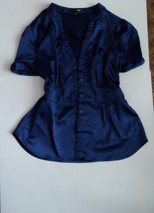 Рубашка блузка синяя нарядная атласная 50 52 размер топ лук скидка sale h&m