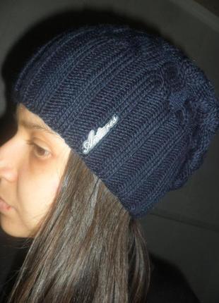Стильная шапка коса бини темно-синяя. распродажа зимнего ассортимента головных уборов