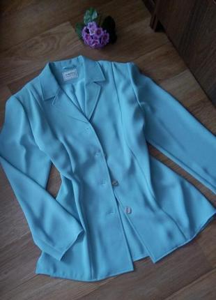 Пиджак жакет удлиненный ментолового цвета 50 52 большой размер красивый