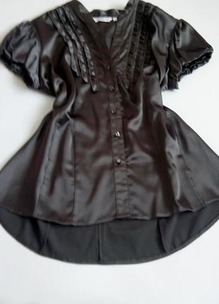 Рубашка блузка коричневая серая нарядная атласная 50 52 размер топ лук скидка sale