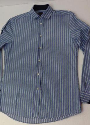 H&m. крутейшая рубашка в полоску с нюансом. ворот 39/40