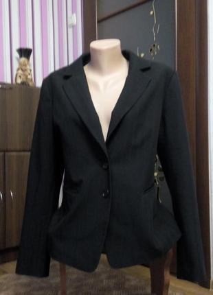 Пиджак жакет 48 50 размер черный классический приталенный h&m
