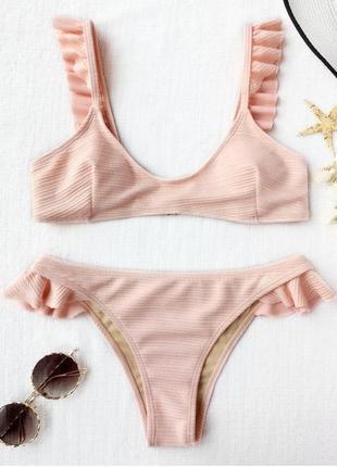 Купальник с рюшами нежно-розовый