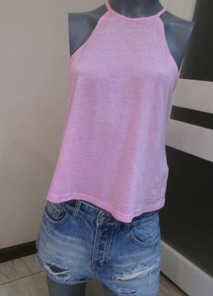 Бледно-розовый кроп-топ, летняя короткая майка вырез американка, xs-s, сост. новой вещи