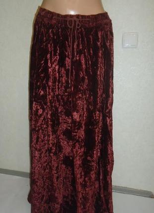 Красивая велюровая юбка в пол  crystals