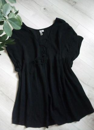 Стильная базовая блуза со шнуровкой, оверсайз
