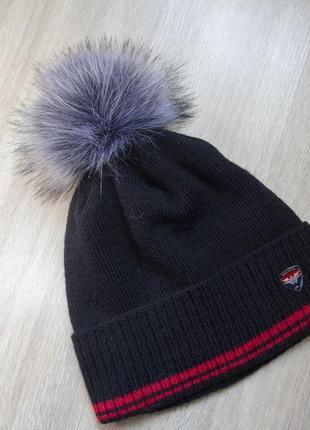 Оригінальна утеплена шапка на 46-52 об'єм голови з бумбоном