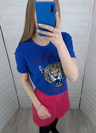Новая  синяя футболка с тигром secret