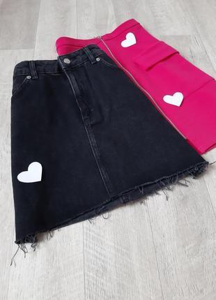 Черная джинсовая  юбка topshop moto