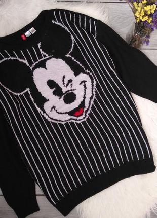 H&m теплая кофта свитер с микки маус удлиненная l 12 40 48 m 10 38 46