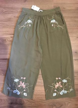 Лёгкие натуральные брюки,кюлоты с вышивкой!