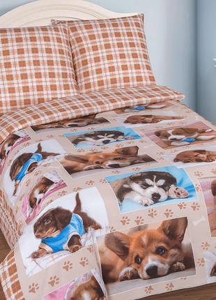 Детское постельное белье, лучшие друзья, хлопок,1,5 спальное, в кроватку, на резинке