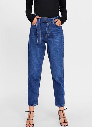 Мом джинсы с высокой посадкой zara 08a1087f8499e