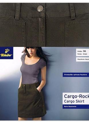Юбка tcm tchibo джинсовая карго трапеция хлопок р. 36