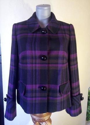 Брендовый жакет,короткое пальто в клетку,шерсть,батал суперкачество