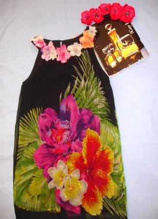 Сукня платье туника летняя размер 48 / 14 свободная с цветами нарядная плаття мини