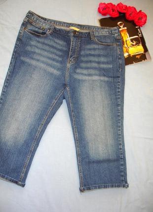 Женские шорты джинсовые размер 52 / 18 стрейчевые бриджи капри удлиненные модные