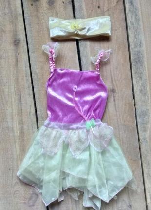 Карнавальное платье фея цветочек ромашка 2-3 года с повязкой