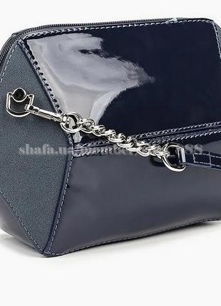Клатч, сумка через плече с лаковой вставкой david jones 5832-1 темно-синий3