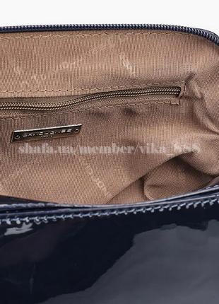Клатч, сумка через плече с лаковой вставкой david jones 5832-1 темно-синий4