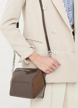 Клатч, сумка через плече с лаковой вставкой david jones 5832-1 коричневый