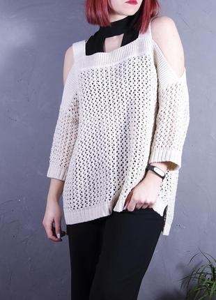 Вязанный пуловер с открытыми плечами, светло-бежевый свитер marks & spencer