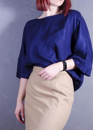 Объемная туника в темно-синем цвете, стильная блуза oversize,  papaya