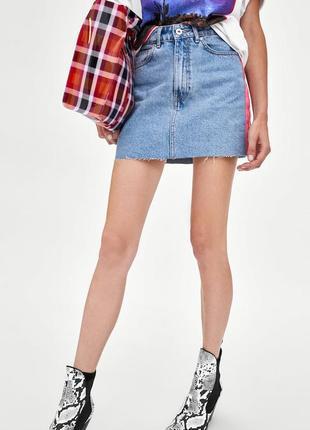 Джинсовая юбка с лампасами полосками высокая талия zara